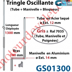 Tringle Oscillante Alu-Acier Gris ± Ral 7035 Long Totale 1300 Bras Manivelle Long 180 mm Tige ø12