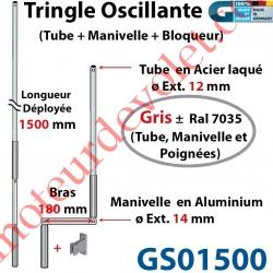 Tringle Oscillante Alu-Acier Gris ± Ral 7035 Long Totale 1500 Bras Manivelle Long 180 mm Tige ø12