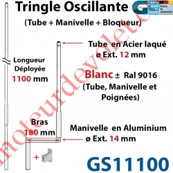 Tringle Oscillante Alu-Acier Blanc ± Ral 9016 Long Totale 1100 Bras Manivelle Long 180 mm Tige ø12