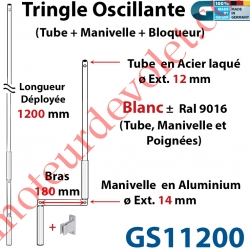 Tringle Oscillante Alu-Acier Blanc ± Ral 9016 Long Totale 1200 Bras Manivelle Long 180 mm Tige ø12