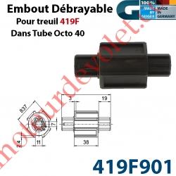 Embout Débrayable pour Treuil 419F dans Tube Octo 40