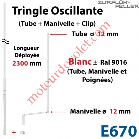 Tringle Oscillante Lg 2300 Blanche avec  Manivelle