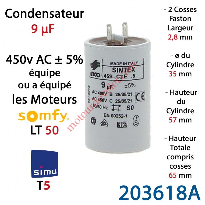 simu 203618a condensateur d 39 origine pour moteur tubulaire simu ou somfy cosses faston 2 8 mm. Black Bedroom Furniture Sets. Home Design Ideas