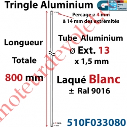 Tringle Alu Laqué Blanc ± Ral 9016 ø13 mm x 1,5 mm Percé pr Goup Geig Lg 800 mm