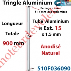 Tringle Alu Anodisé Naturel ø15 mm  x 1,5 mm Percé pr Goupille Geiger Lg 900 mm