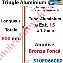 Tringle Alu Anodisé Bronze Foncé ø15 mm  x 1,5 mm Percé pr Goupille Geiger Lg 800 mm