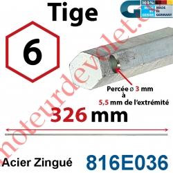 Tige Hexa 6 mm Lg 326 mm