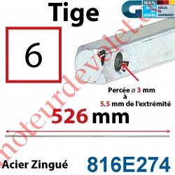 Tige Carré 6 mm Lg 526 mm