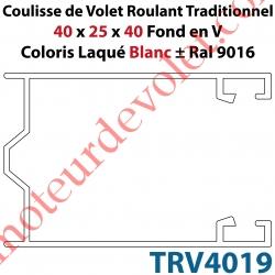 Coulisse de Tradi 40 x 25 x 40 Fond en V Sans Joint en Aluminium Laqué Coloris Blanc ± Ral 9016