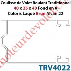 Coulisse de Tradi 40 x 25 x 40 Fond en V Sans Joint en Aluminium Laqué Coloris Brun Alcan 22