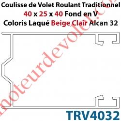Coulisse de Tradi 40 x 25 x 40 Fond en V Sans Joint en Aluminium Laqué Coloris Beige Clair Alcan 32