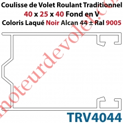 Coulisse de Tradi 40 x 25 x 40 Fond en V Sans Joint en Aluminium Laqué Coloris Noir Alcan 44 ± Ral 9005