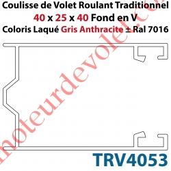 Coulisse de Tradi 40 x 25 x 40 Fond en V Sans Joint en Aluminium Laqué Coloris Gris Anthracite ± Ral 7016