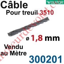 Câble Acier Diamètre 1,8 mm pour Treuil à Câble Réf.: 3510G ou 3510D