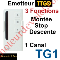 Emetteur TT Go TG1 Nomade 3 Fonctions 1 Canal 433,92MHz Rolling Code + Support Berceau
