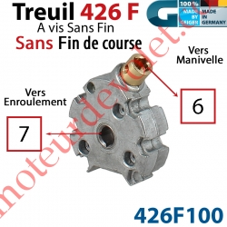 Treuil Vis sans Fin ø48 Man Car 6 Fem Srt Car 7 Fem Révers Ss FdC Dém 2,6/1 Cpl 1,5 Nm