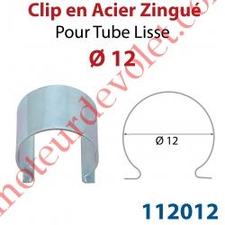 Clip en Acier Zingué pour Tube Lisse ø 12 mm
