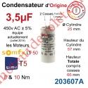 Condensateur d'Origine pour Moteur Tubulaire Simu ou Somfy à Cosses Faston 2,8 mm Capacité 3,5µF ±5% 450 v