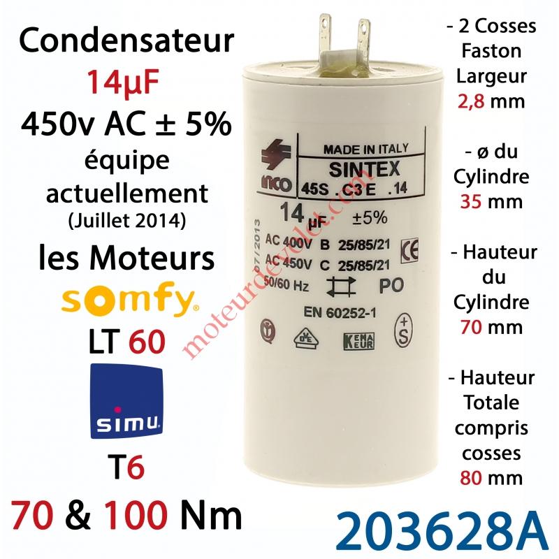 Simu 203628a Condensateur D Origine Pour Moteur Tubulaire Simu Ou