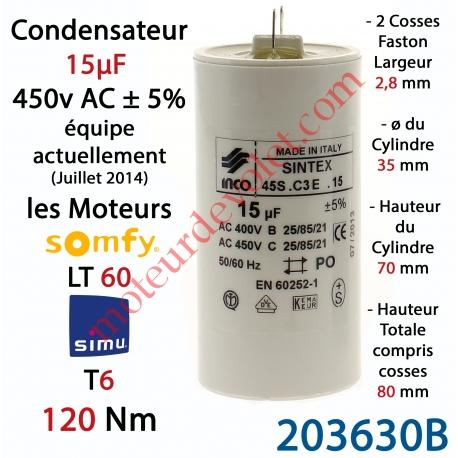 Simu 203630b Condensateur D Origine Pour Moteur Tubulaire Simu A