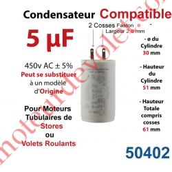 Condensateur Compatible pour Moteur Tubulaire de Store ou Volet Roulant à Cosses Faston 2,8 mm Capacité 5µF ±5% 400-450v