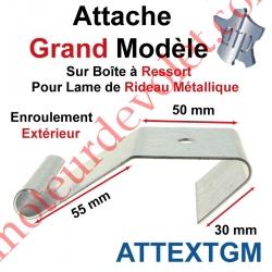 Attache Grand Modèle Acier Galva sur Boîte Ressort pr Lame Rideau Métallique Enrlt Extérieur