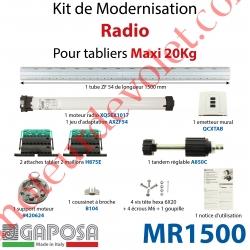 Kit de Motorisation Radio Avec Emetteur Mural Largeur Maxi 1500mm Poids Maxi 20 kg