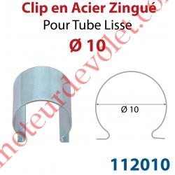 Clip en Acier Zingué pour Tube Lisse ø 10 mm