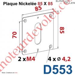 Plaque 85 x 85 mm Nickelée pour Elargir les Fixations des Sorties à 90°
