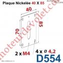 Plaque 40 x 85 mm Nickelée pour Elargir les Fixations des Sorties à 90°