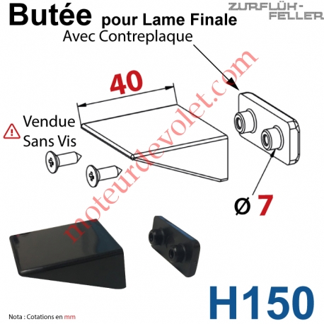 Butée Equerre pour Lame Finale + Contreplaque Noire Sans Vis