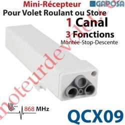 Récepteur Mini pour Volet Roulant ou Store 230 vca 1 canal 868,30 MHz 3 Fonctions Sortie 500w ip55