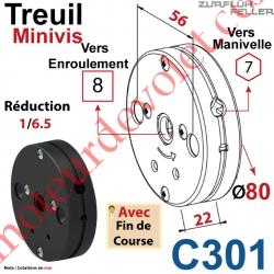 Treuil Minivis Réd 1/6,5 Entrée Hexa 7 Femelle Sortie Carré 8 Femelle Av FdC Ep 22