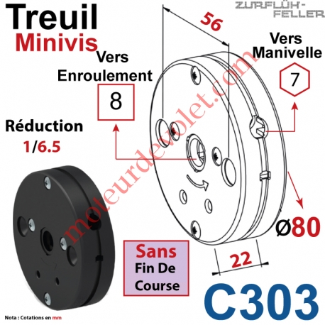 Treuil Minivis Réd 1/6,5 Entrée Hexa 7 Femelle Sortie Carré 8 Femelle Ss FdC Ep 22