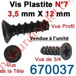 Vis Plastite N°7 Tête Fraisée 3,5 x 12 mm pour Fixation Directe sur Tête de Moteur Ls 40