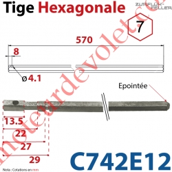 Tige Hexagonale de 7 mm Longueur 570 mm Percée ø 4,1 mm Zinguée