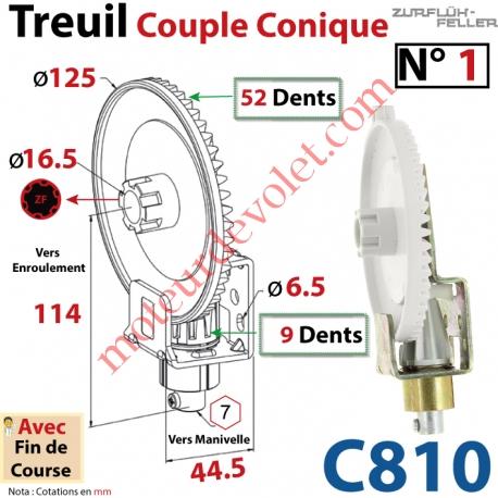 Treuil Couple Cônique n° 1 Entrée Hexa 7 Femelle Sortie Crabot Zf Mâle