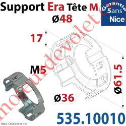 Support Nice Era Tête M Métallique 2 Trous M5 entr'axes 48 mm
