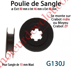 Poulie ø Ext 80 mm Int 46 mm pr Sang 15 Max se monte sur Crabot Mâle ou Moyeu Crabot Zf