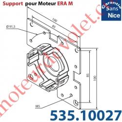 Support Nice Era Tête M Métallique Soudé sur une Plaque 100x100 4 Trous Fraisés diamètre 5,2 entr'axes 85 mm