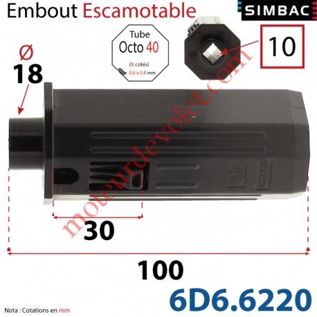 Embout Escamotable de 30 mm Octo 40 Téton ø18 Mâle Alésé en Carré de 10 Femelle