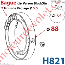 Bague de Verrou Automatique Blocksûr pr tube ZF 64 ø Ext 88 mm Av 1 Vis 4,2x12,7