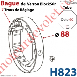 Bague de Verrou Automatique Blocksûr pr tube Octo 60 ø Ext 88mm Av1 Vis 4,2x12,7
