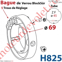 Bague de Verrou Automatique Blocksûr pr tube ZF 45 ø Ext 69 mm Av 1 Vis 4,2x12,7