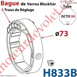 Bague de Verrou Automatique Blocksûr pr tube Octo 50 øExt 73 mm Av1 Vis 4,2x12,7