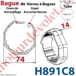 Bague de Verrou Automatique à Bagues Zf pour tube Octo 60 diamètre Extérieur 74 mm Largeur 14 mm