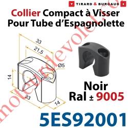 Collier Compact à Visser en Matériau Composite Noir ±Ral 9005 pour Tube Espagnolette Diam 14mm Rainuré en Aluminium (Sans vis)