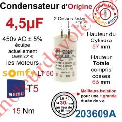 Condensateur d'Origine pour Moteur Tubulaire Simu ou Somfy à Cosses Faston 2,8 mm Capacité 4,5µF ±5% 400-450v