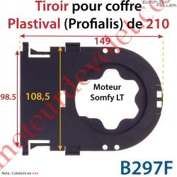 Tiroir Support Moteur Somfy LT Sans Clip en Matériau Composite pour Coffre Plastival (Profialis) de 210 mm