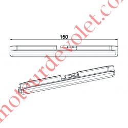 Profil d'Attelage Tablier Lg 150mm Permet de transformer un Clicksûr pour Lame de 13-14 mm en Clicksûr pour Lame 8-9 mm d'épais
